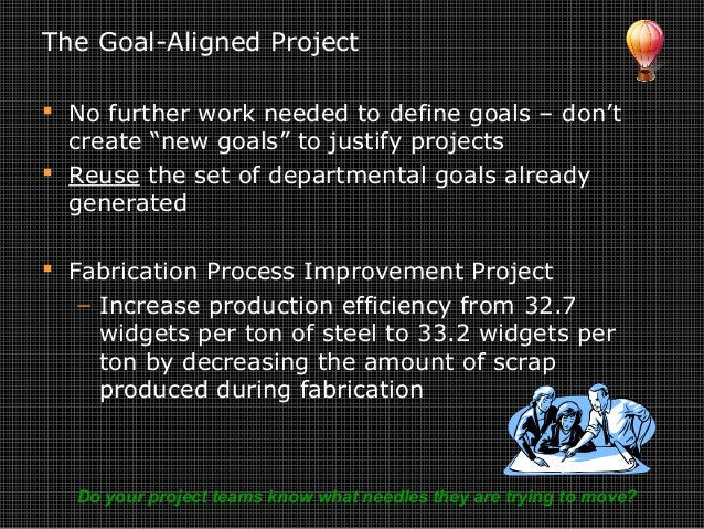 """The Goal-Aligned Project  No further work needed to define goals – don't create """"new goals"""" to justify projects  Reuse t..."""