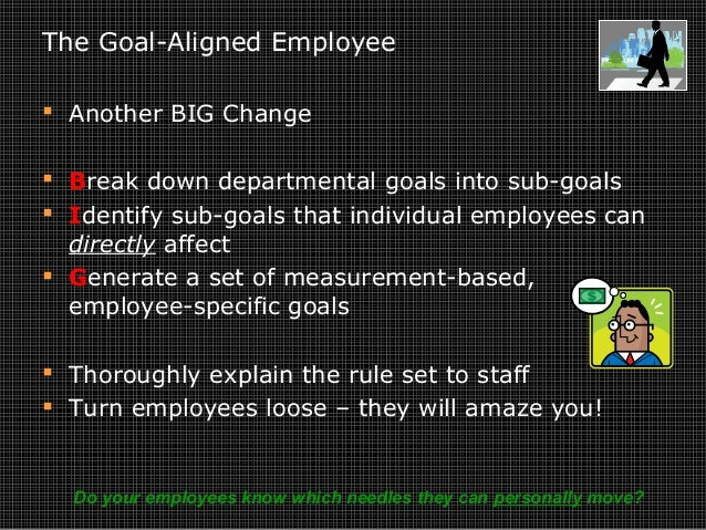 The Goal-Aligned Employee  Another BIG Change  Break down departmental goals into sub-goals  Identify sub-goals that in...