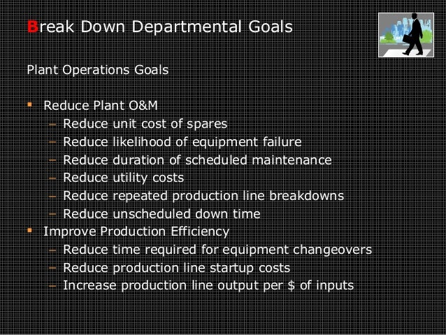 Break Down Departmental Goals Plant Operations Goals  Reduce Plant O&M − Reduce unit cost of spares − Reduce likelihood o...