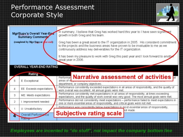 Performance Assessment Corporate Style Narrative assessment of activities Subjective rating scale Employees are incented t...