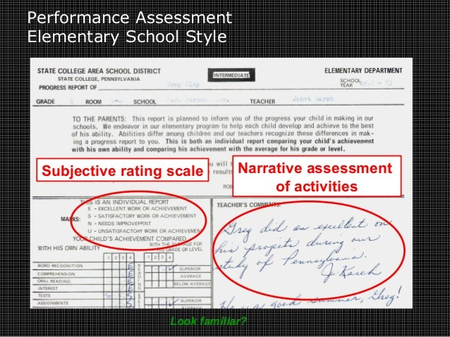 Performance Assessment Elementary School Style Narrative assessment of activities Subjective rating scale Look familiar?