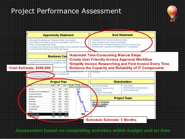 Project Performance Assessment •Automate Time-Consuming Manual Steps •Create User Friendly Invoice Approval Workflow •Simp...