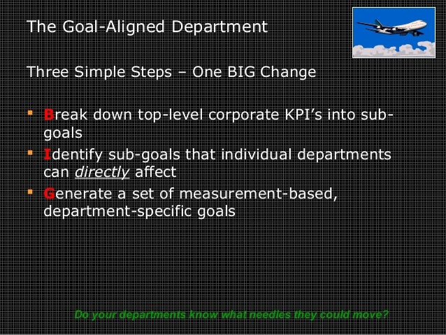 The Goal-Aligned Department Three Simple Steps – One BIG Change  Break down top-level corporate KPI's into sub- goals  I...