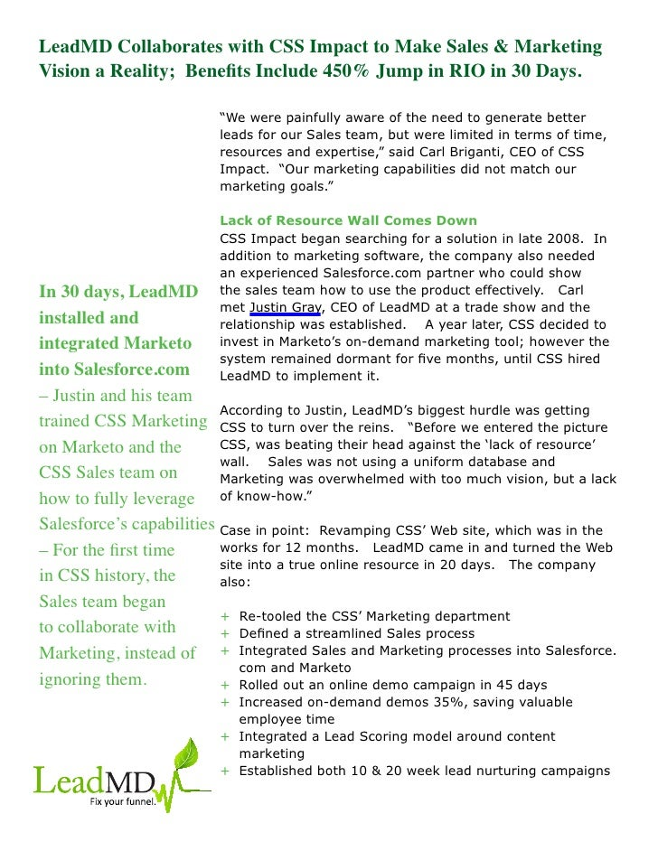 LeadMD Collaborates with CSS Impact to Make Sales & MarketingVision a Reality; Benefits Include 450% Jump in RIO in 30 Day...