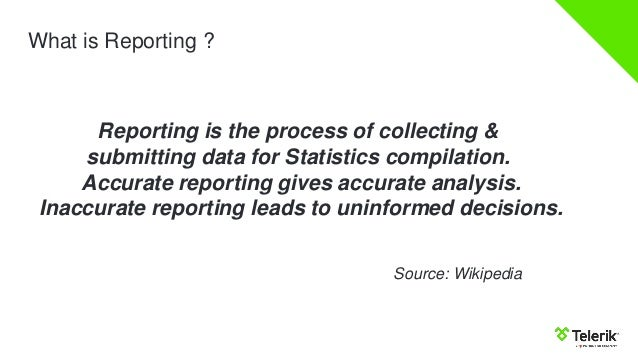 reporting is