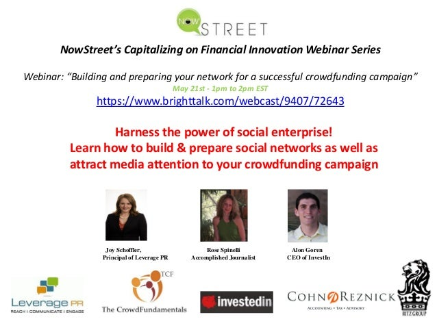 "NowStreet's Capitalizing on Financial Innovation Webinar SeriesWebinar: ""Building and preparing your network for a success..."