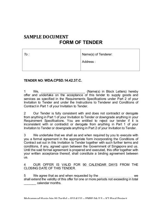 Invitation to tender (itt) template (ms word) | templates, forms.