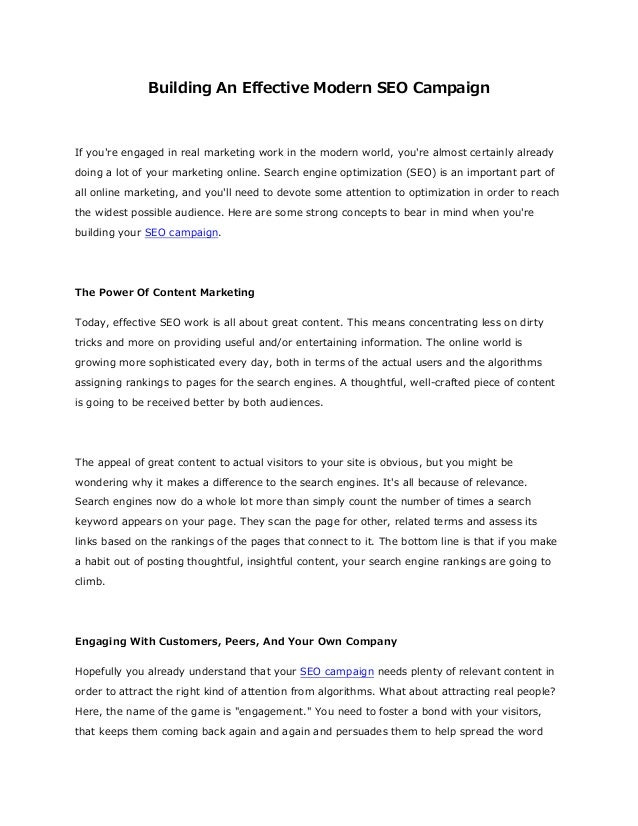 Building An Effective Modern SEO Campaign If you're engaged in real marketing work in the modern world, you're almost cert...