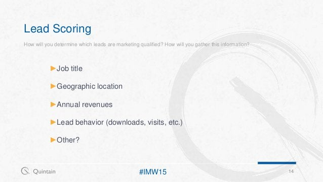 Lead Scoring 14#IMW15 ►Job title ►Geographic location ►Annual revenues ►Lead behavior (downloads, visits, etc.) ►Other? Ho...