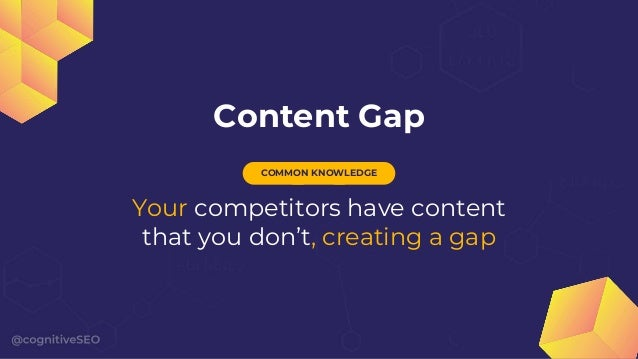 Content Gap Your competitors have content that you don't, creating a gap COMMON KNOWLEDGE