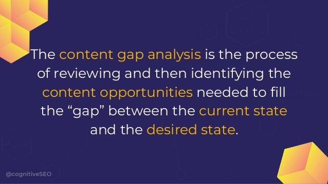 Gaps can be filled by both optimizing your existing content as well as by creating new content.