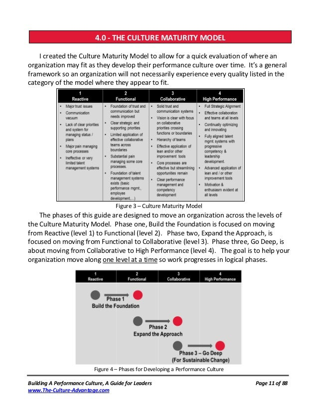 4.0 - THE CULTURE MATURITY MODEL                  THE BEHAVIOR SIDE OF BUILDING THE FOUNDATION    I created the Culture Ma...