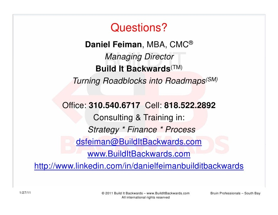 Questions?                      Daniel Feiman, MBA, CMC®                           Managing Director                      ...