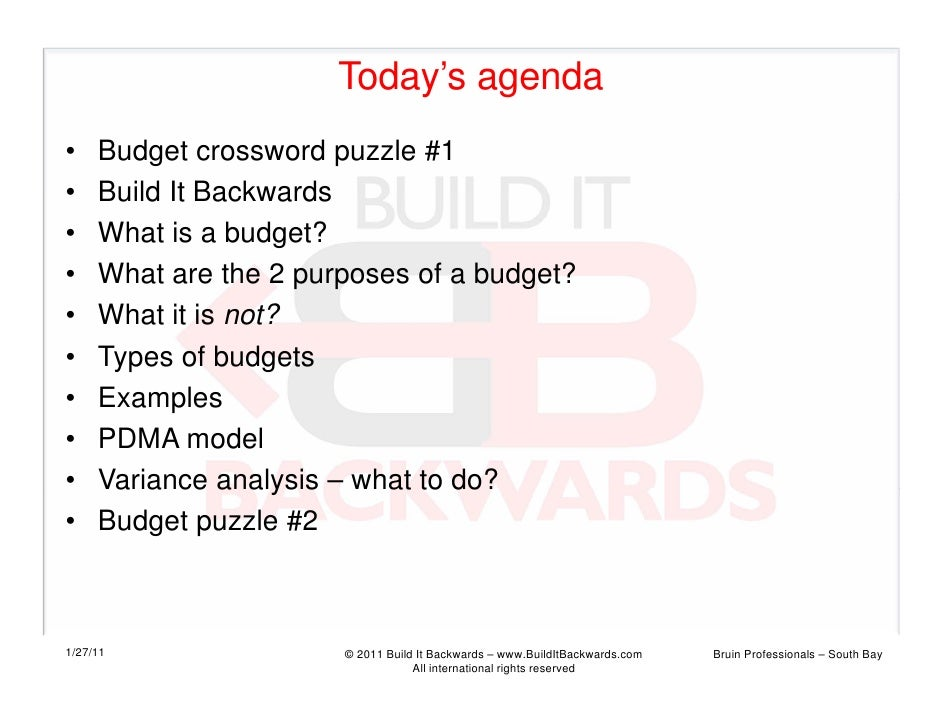 Today's agenda•    Budget crossword puzzle #1•    Build It Backwards•    What is a budget?•    What are the 2 purposes of ...