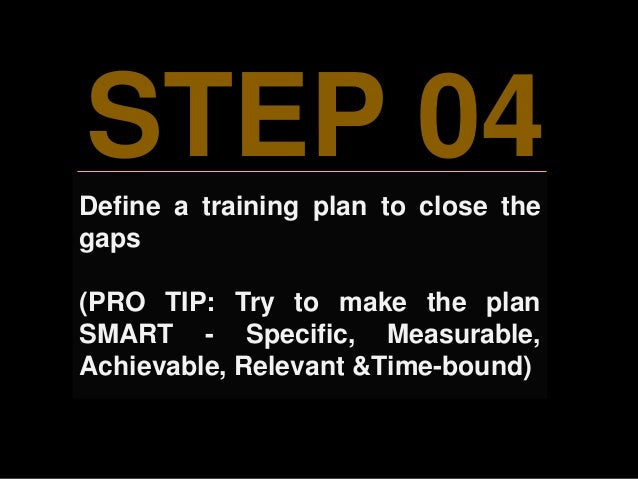 STEP 04 Define a training plan to close the gaps (PRO TIP: Try to make the plan SMART - Specific, Measurable, Achievable, ...