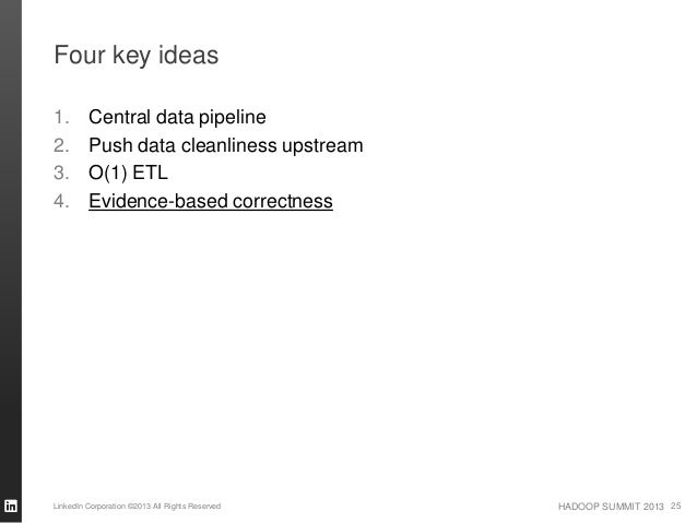 HADOOP SUMMIT 2013 Four key ideas 1. Central data pipeline 2. Push data cleanliness upstream 3. O(1) ETL 4. Evidence-based...