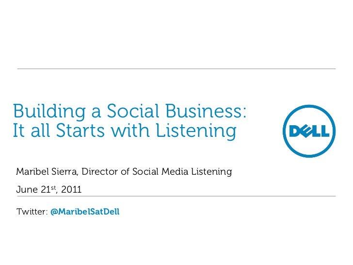 Building a Social Business: It all Starts with Listening<br />Maribel Sierra, Director of Social Media Listening<br />June...