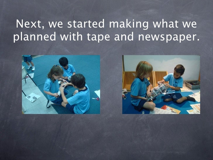 Building a structure with newspaper Slide 3