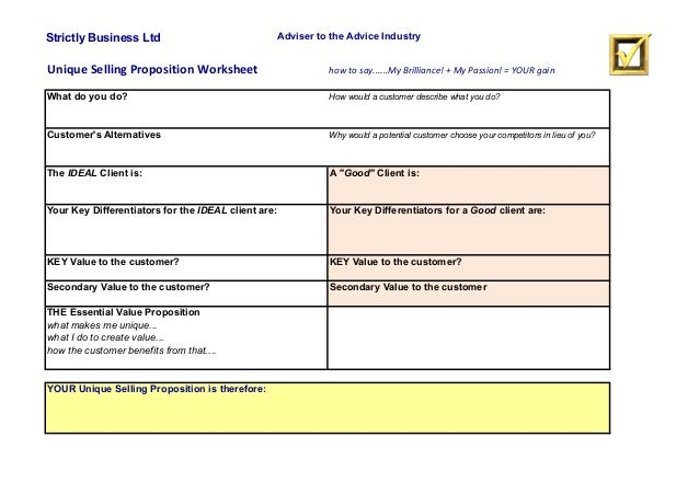 Strictly Business Ltd Adviser to the Advice Industry Unique  Selling  Proposition  Worksheet how  to  say......M...