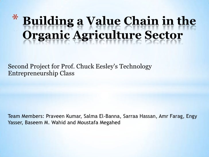 * Building a Value Chain in the     Organic Agriculture SectorSecond Project for Prof. Chuck Eesleys TechnologyEntrepreneu...