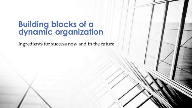 Ingredients for success now and in the future Building blocks of a dynamic organization