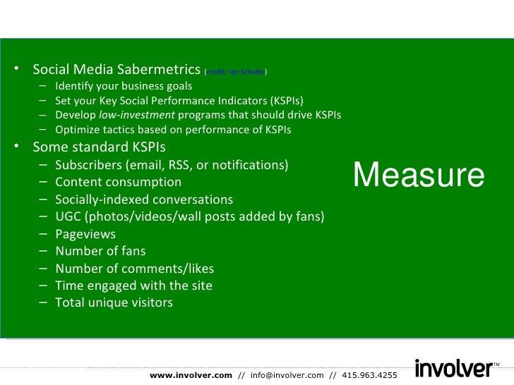 Measure <ul><li>Social Media Sabermetrics  ( credit: Ian Schafer ) </li></ul><ul><ul><li>Identify your business goals </li...