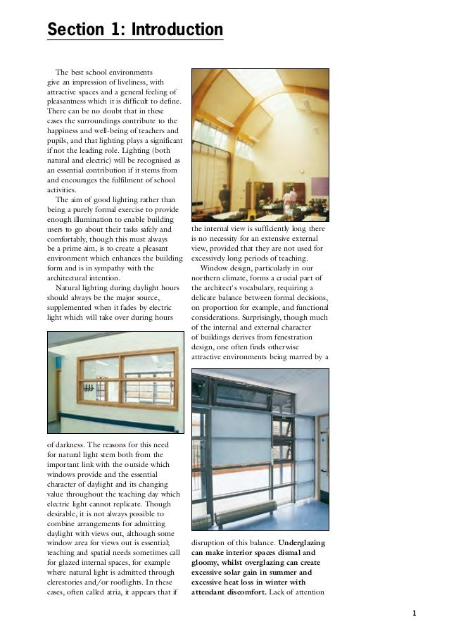 Building Bulletin  Lighting Design For Schools