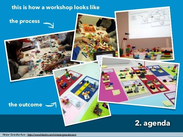 Néstor González Aure - https://www.linkedin.com/in/nestorgonzalezaure 2. agenda this is how a workshop looks like the proc...