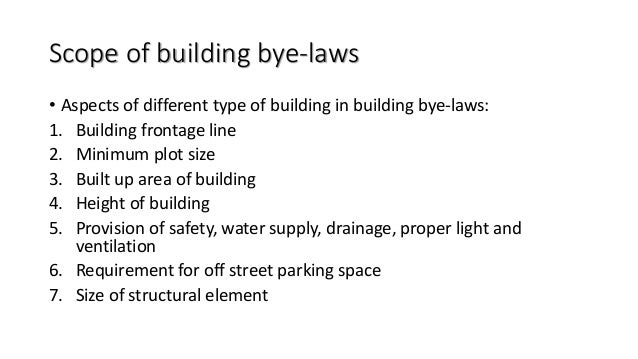 Building by laws for Construction rules and regulations