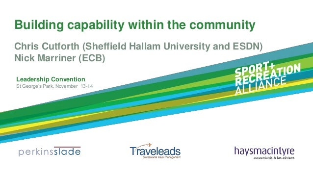 Building capability within the community Chris Cutforth (Sheffield Hallam University and ESDN) Nick Marriner (ECB) Leaders...