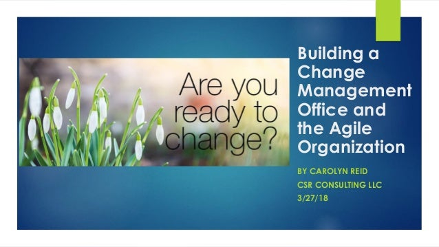 Building a Change Management Office and the Agile Organization BY CAROLYN REID CSR CONSULTING LLC 3/27/18