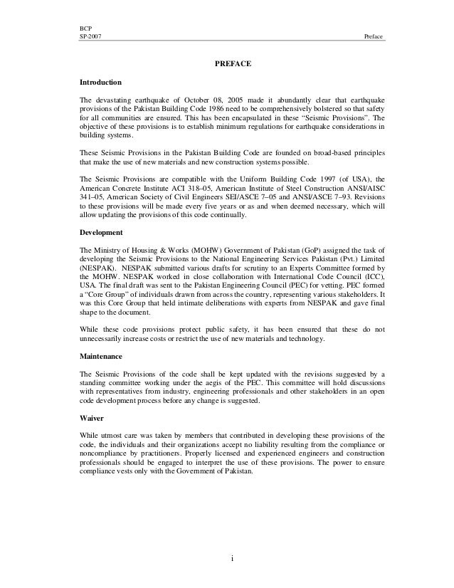 BCP SP-2007 Preface i PREFACE Introduction The devastating earthquake of October 08, 2005 made it abundantly clear that ea...