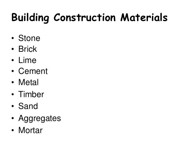 Building construction materials
