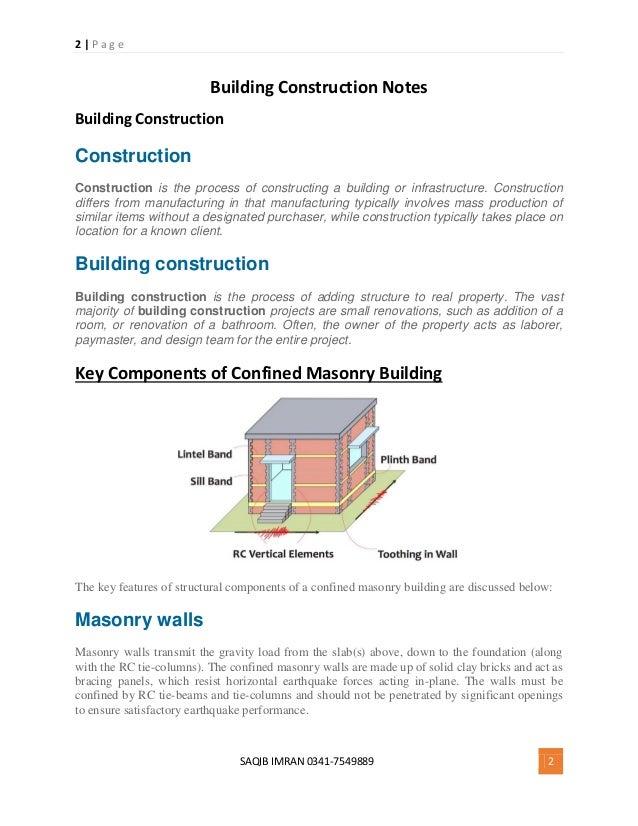 Building Construction Notes Pdf