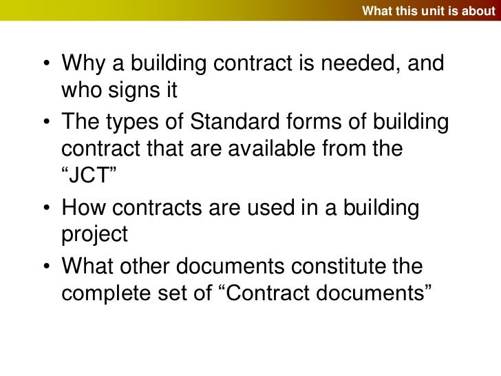 Building Contracts And The Jct