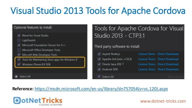 Visual Studio 2013 Tools for Apache Cordova Reference: https://msdn.microsoft.com/en-us/library/dn757054(v=vs.120).aspx ww...