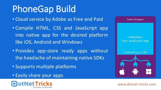 PhoneGap Build • Cloud service by Adobe as Free and Paid • Compile HTML, CSS and JavaScript app into native app for the de...