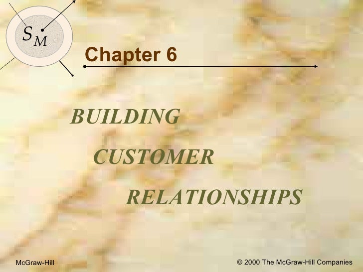 McGraw-Hill © 2000 The McGraw-Hill Companies Chapter 6 BUILDING  CUSTOMER RELATIONSHIPS  S M