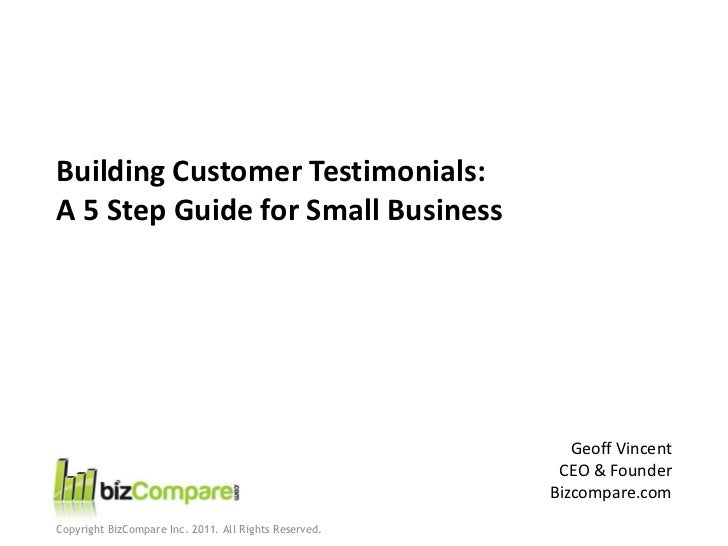 Building Customer Testimonials:A 5 Step Guide for Small Business                                                          ...