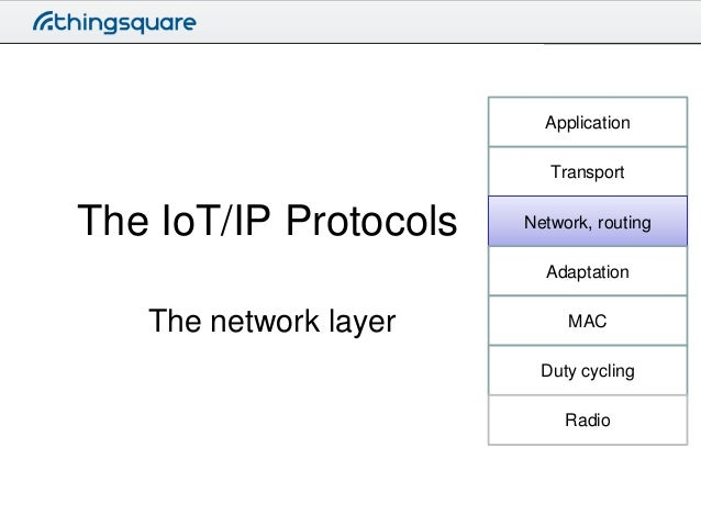 Application Transport  The IoT/IP Protocols  Network, routing Adaptation  The network layer  MAC Duty cycling  Radio