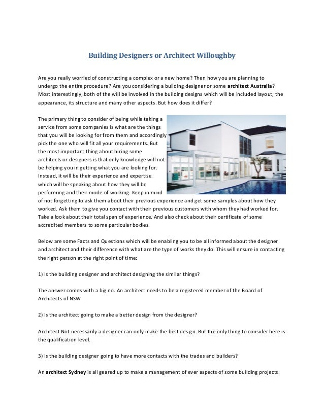Building Designers Or Architect Willoughby Are You Really Worried Of  Constructing A Complex Or A New ...