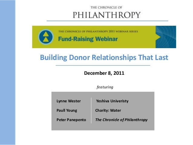 Lynne Wester Yeshiva Univeristy Paull Young Charity: Water Peter Panepento The Chronicle of Philanthropy featuring Buildin...