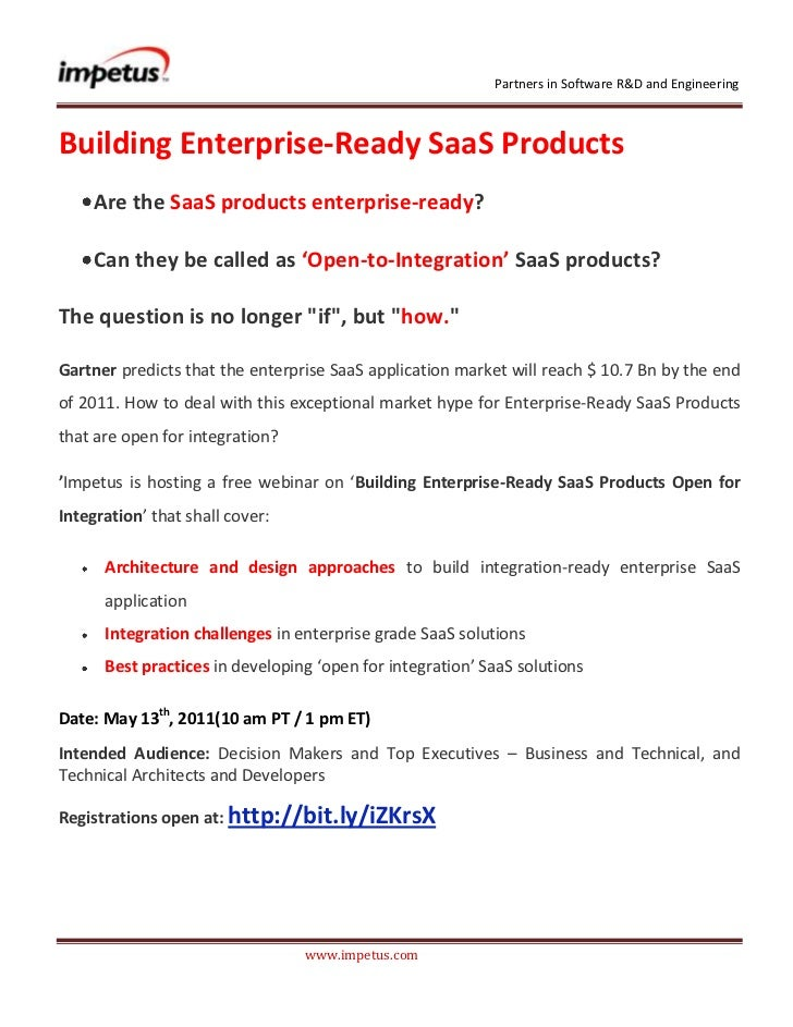 <br />Building Enterprise-Ready SaaS Products <br /><ul><li>Are the SaaS products enterprise-ready?