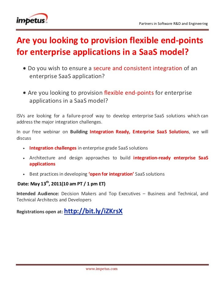 <br />Are you looking to provision flexible end-points for enterprise applications in a SaaS model?<br /><ul>...