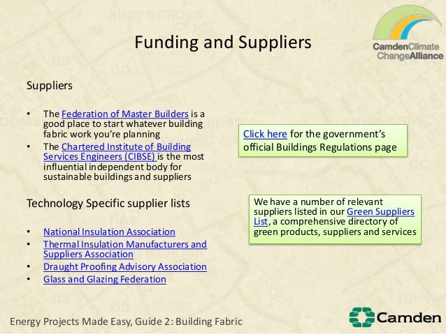 Funding and SuppliersSuppliers• The Federation of Master Builders is agood place to start whatever buildingfabric work you...