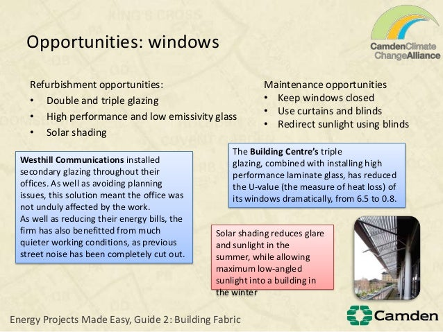 Opportunities: windowsRefurbishment opportunities:• Double and triple glazing• High performance and low emissivity glass• ...
