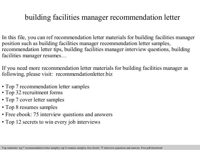 Building Facilities Manager Recommendation Letter