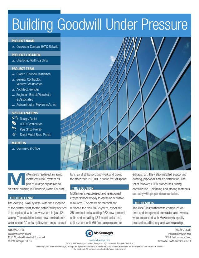 M cKenney's replaced an aging, inefficient HVAC system as part of a large expansion to an office building in Charlotte, No...