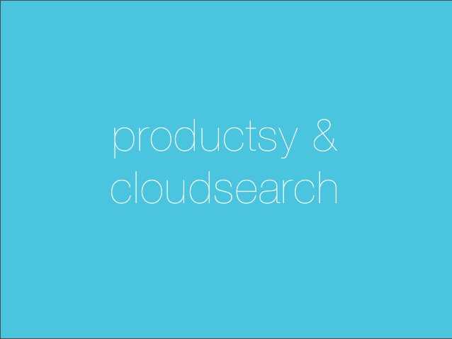 productsy &cloudsearch