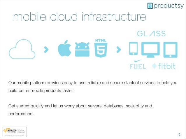 5mobile cloud infrastructureOur mobile platform provides easy to use, reliable and secure stack of services to help youbui...